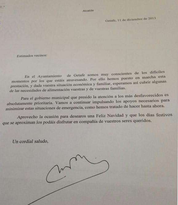 Carta que ha enviado el alcalde de Getafe a los perceptores de la ayuda